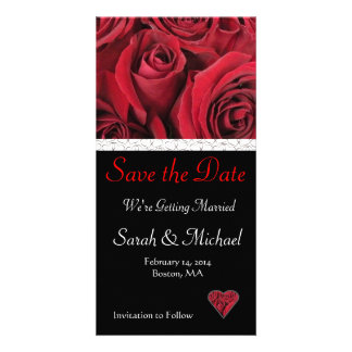 Red Rose Wedding Save the Date Card Photo Card