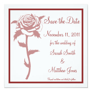 Red Rose Wedding Save the Date Notice Custom Invitations