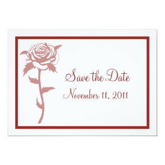 Red Rose Wedding Save the Date Notice Custom Announcement