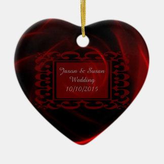 Red Rose wedding save the date Double-Sided Heart Ceramic Christmas Ornament
