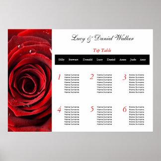 Red Rose Wedding Seating Table Plan Poster
