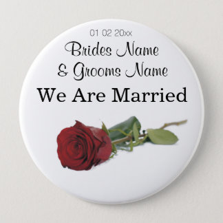 Red Rose Wedding Souvenirs Keepsakes Giveaways Pinback Button