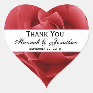 Red Rose Wedding Thank You Bride Groom Sticker