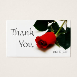 Red rose Wedding thank you card