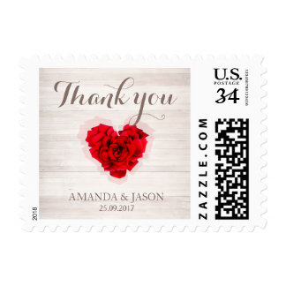 Red rose wedding thank you postage stamp hhn01