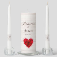 Red rose wedding unity candle set hhn01