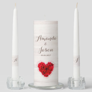 Red rose wedding unity candle set hhn01