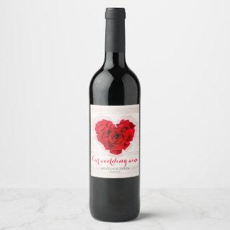 Red rose wedding Wine / Champagne label hhn01
