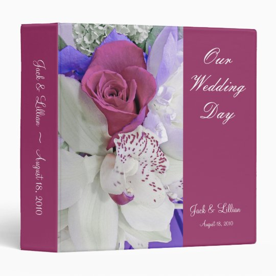 Red Rose & White Orchid Wedding Album 3 Ring Binder