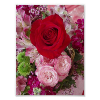 Red Rose With Assorted Flowers and Roses Print