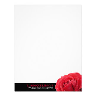 Red Rose with Black Accent Letterhead