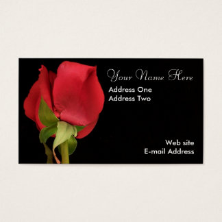 Red Rose with Black Backdrop Business Card