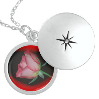 RED ROSE with black Sterling Silver LOCKET