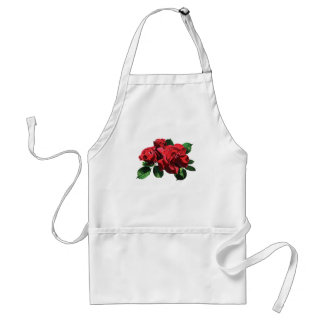 Red Rose with Buds and Leaves Aprons