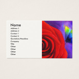 Red Rose With Butterfly Painting Art - Multi Business Card