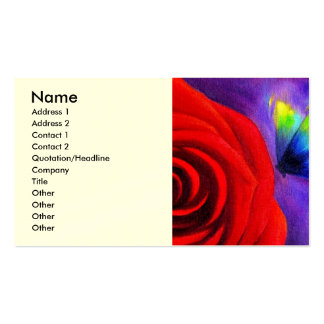 Red Rose With Butterfly Painting Art - Multi Business Cards