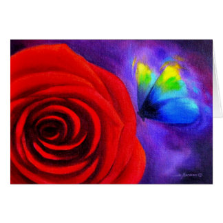 Red Rose With Butterfly Painting Art - Multi Card