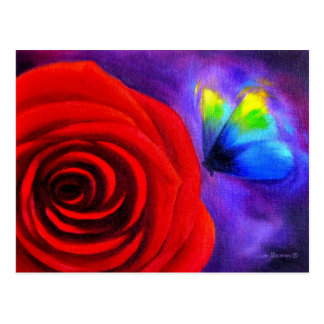 Red Rose With Butterfly Painting Art - Multi Post Card