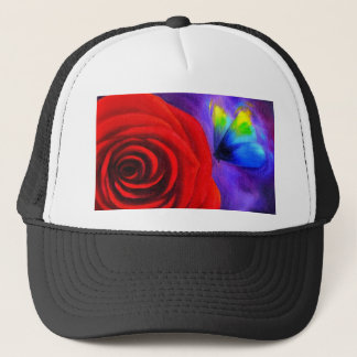 Red Rose With Butterfly Painting Art - Multi Trucker Hat
