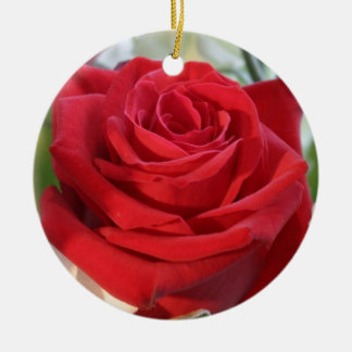 Red Rose with Garden Background Ceramic Ornament