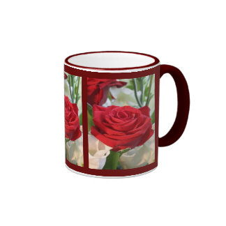 Red Rose with Garden Background Ringer Coffee Mug