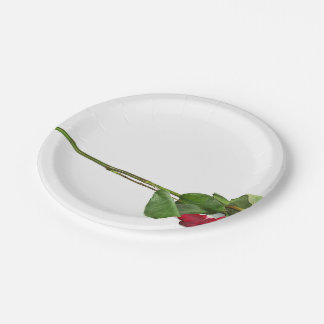 Red  Rose With Green Petals Paper Plate