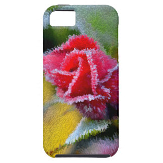 red rose with hoarfrost in the garden, close-up, iPhone 5 cover