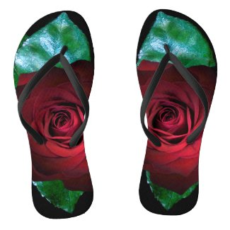 Red Rose with Leaves accent Black Flip Flops
