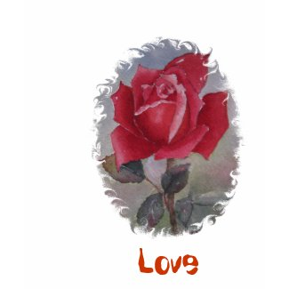 Red Rose with 'Love' shirt