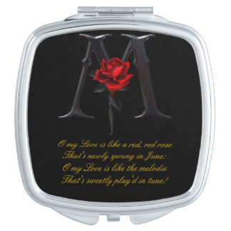 RED ROSE WITH POEM MAKEUP MIRROR