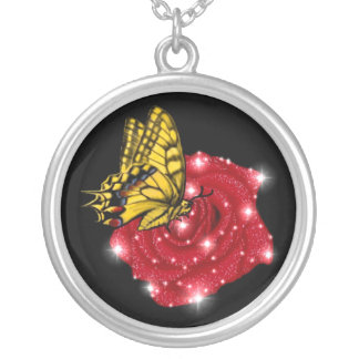 red rose with rain drop asterisk butterfly silver plated necklace