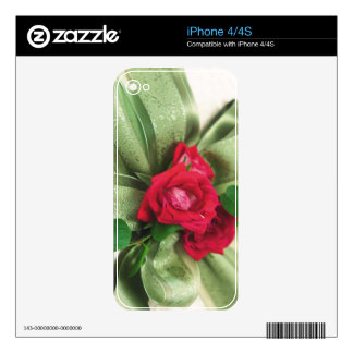 red rose with ribbon decal for iPhone 4