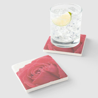 Red Rose with Water Droplet Photo Stone Coaster