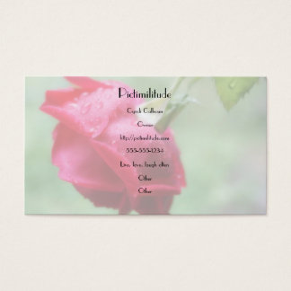 Red Rose With Water Droplets Business Card