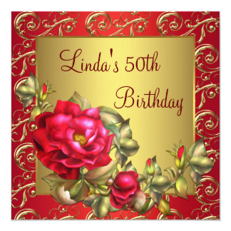 Red Rose Womans Birthday Party Invitation