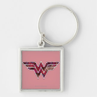 Red Rose WW Silver-Colored Square Keychain