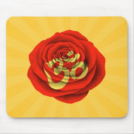 Red Rose Yoga Om on Yellow Mousepads