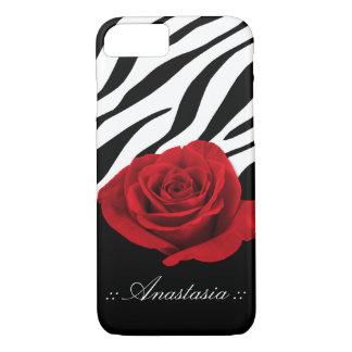 Red Rose Zebra Print personalized iPhone 7 Case