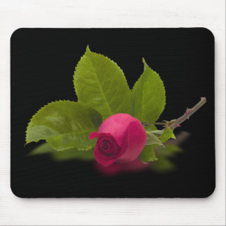 Red Rosebud Alec's Red Mouse Pad