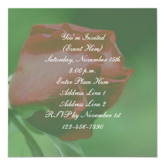 Red Rosebud Floral Party Invitation
