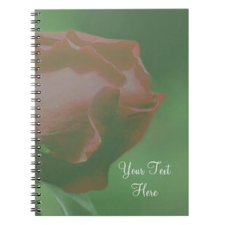 Red Rosebud Flower Personalized Notebook