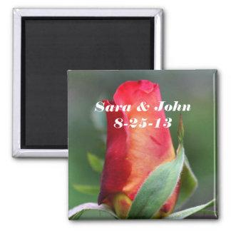 Red Rosebud Flower Wedding Favor Magnet
