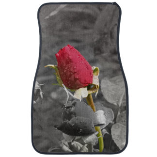 Red Rosebud on Grey Car Mat