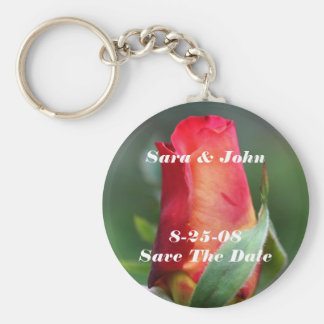 Red Rosebud Save The Date Wedding Keychain