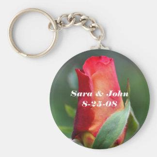 Red Rosebud Wedding Favor Keychain