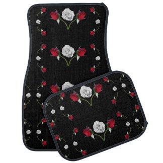 Red Rosebuds and White Roses Car Mat