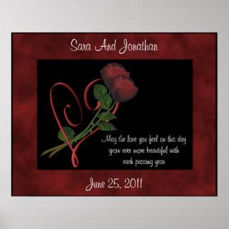 Red Rosebuds Red Heart Wedding Gift Poster