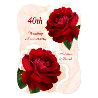 Red roses 40th Ruby Wedding Anniversary Invitation