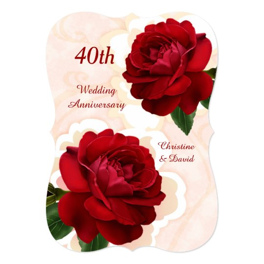 Red Roses 40th Ruby Wedding Anniversary Invitation