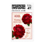 Red roses 40th Ruby Wedding Anniversary Postage